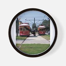 Red Streetcar Wall Clock