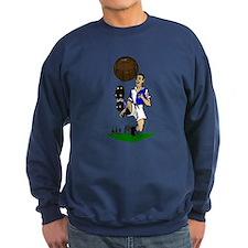 Vintage Footballer Blue White Halves Jumper Sweater