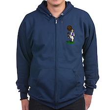 Vintage Footballer Blue White Halves Zip Hoody