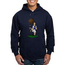 Vintage Footballer Blue White Halves Hoody