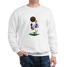 Vintage Footballer Blue White Halves Jumper