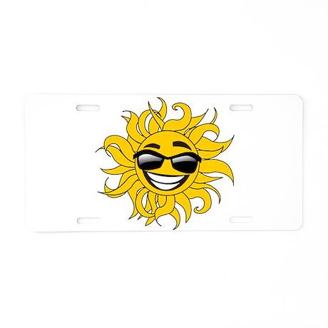 Smiley Face Sun Aluminum License Plate
