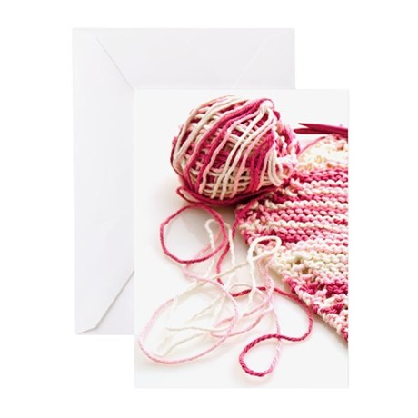 Hand Knit Pink Variegated Greeting Cards (Pk of 10