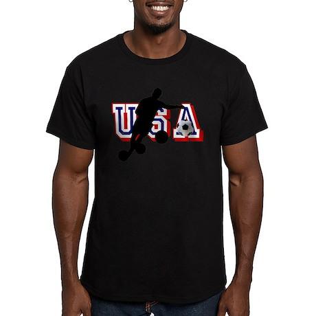 USA Soccer Player Men's Fitted T-Shirt (dark)