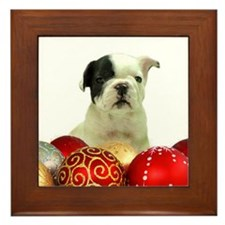 Christmas French Bulldog Framed Tile