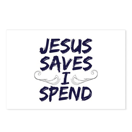 Jesus Saves I Spend Postcards (Package of 8)