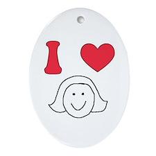 I Heart Mom Oval Ornament