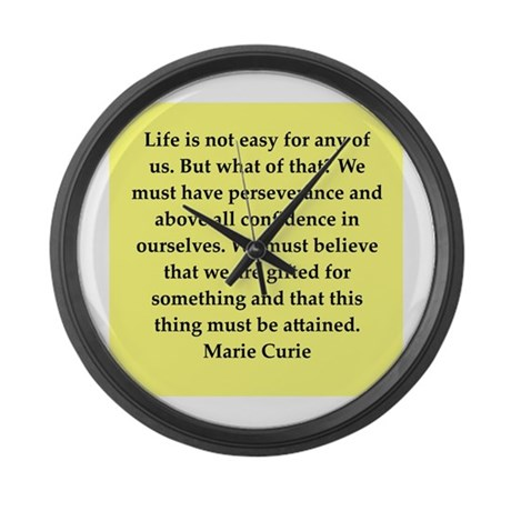 pierre and marie currie quote Large Wall Clock