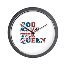 god save the queen (union jac Wall Clock