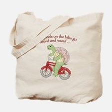 Turtle Riding Bicycle Tote Bag