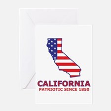 CA USA Flag Map 2 Greeting Card