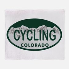 Cycling Colo License Plate Throw Blanket