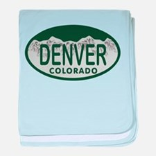 Denver Colo License Plate baby blanket