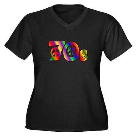 70s PEACE SIGN Women's Plus Size V-Neck Dark T-Shi