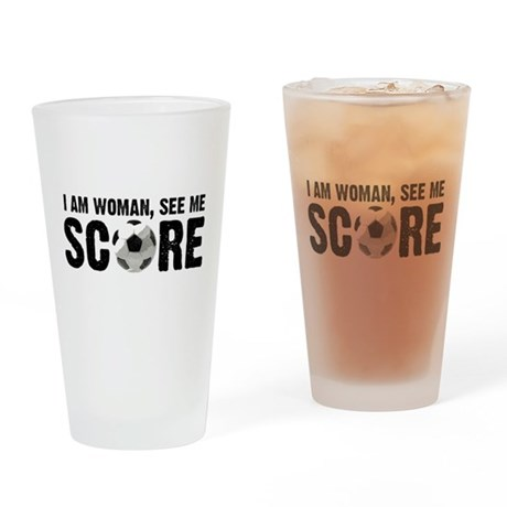 See Me Score Soccer Drinking Glass