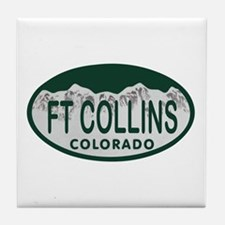 Ft Collins Colo License Plate Tile Coaster