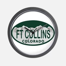 Ft Collins Colo License Plate Wall Clock