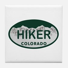 Hiker Colo License Plate Tile Coaster