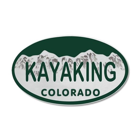 Kayaking Colo License Plate 20x12 Oval Wall Decal