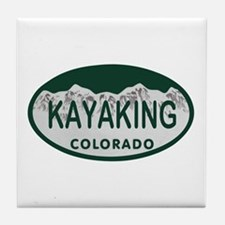 Kayaking Colo License Plate Tile Coaster