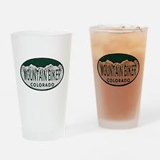 Mountan Biker Colo License Plate Drinking Glass