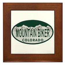 Mountan Biker Colo License Plate Framed Tile