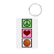 Peace Love Basketball Keychains