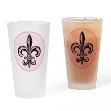 Pink Fleur de lis Survivor Drinking Glass