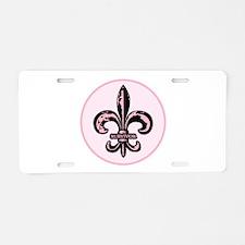 Pink Fleur de lis Survivor Aluminum License Plate