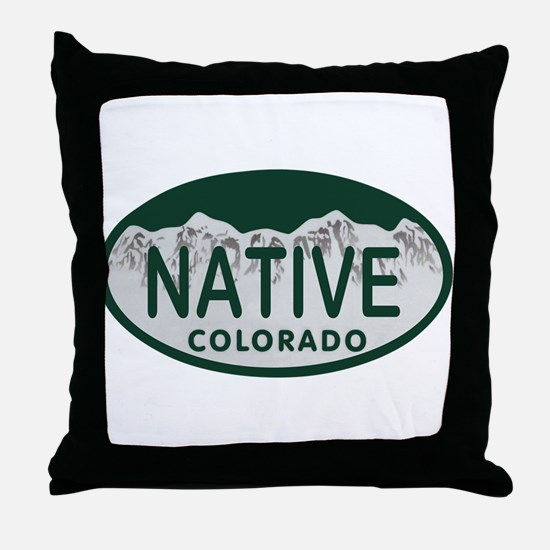 Native Colo License Plate Throw Pillow