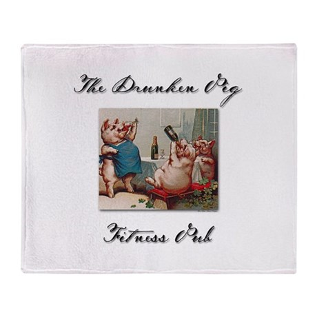 Drunken Pig Plain Throw Blanket