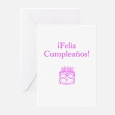 Spanish Birthday Pink Greeting Cards (Pk of 20)