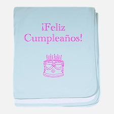 Spanish Birthday Pink baby blanket