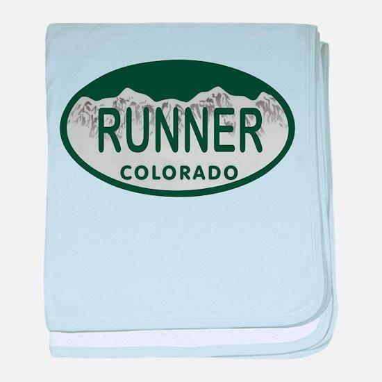 Runner Colo License Plate baby blanket