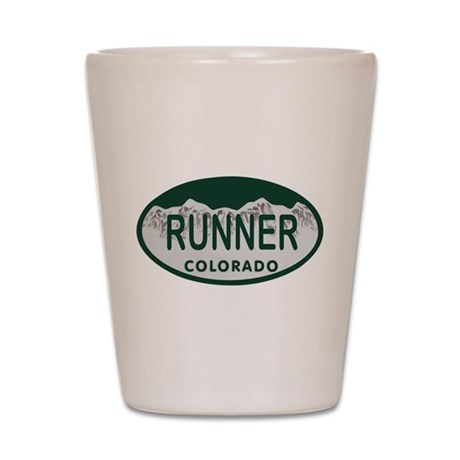 Runner Colo License Plate Shot Glass