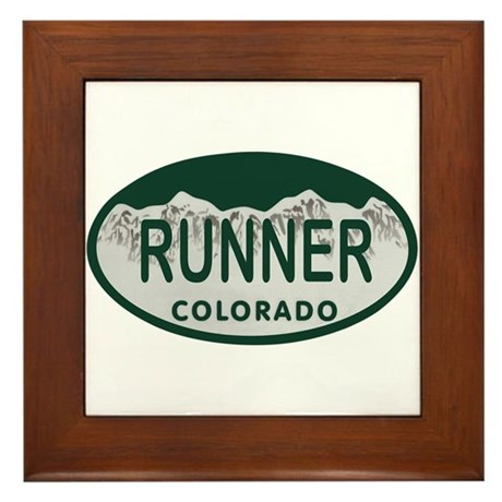 Runner Colo License Plate Framed Tile
