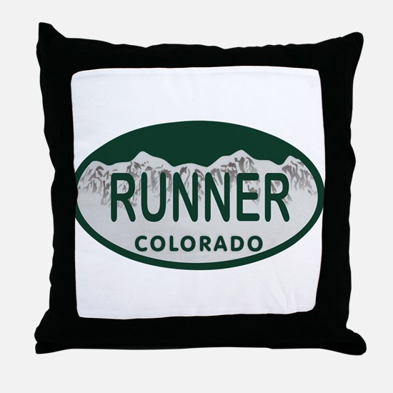 Runner Colo License Plate Throw Pillow