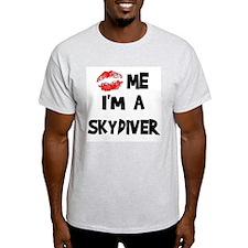 Kiss Me I'm A Skydiver Ash Grey T-Shirt