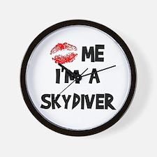 Kiss Me I'm A Skydiver Wall Clock