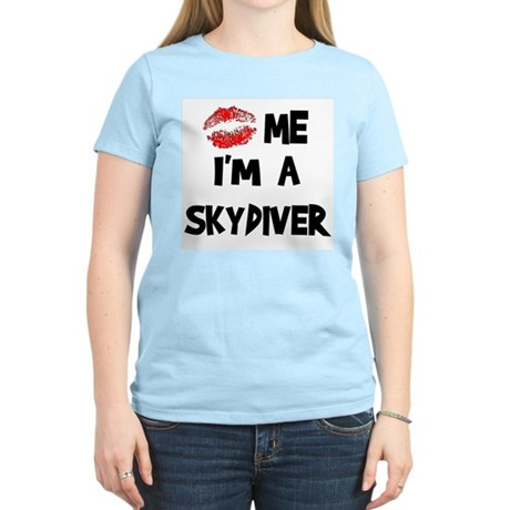 Kiss Me I'm A Skydiver Women's Pink T-Shirt