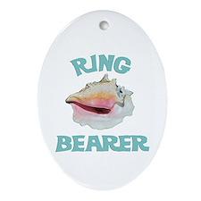 Beach Wedding Ring Bearer Ornament (Oval)