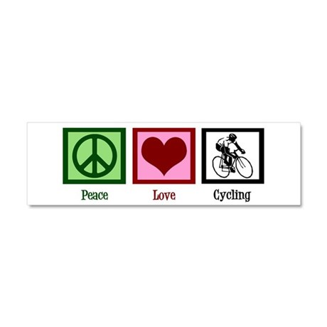 Peace Love Cycling Car Magnet 10 x 3