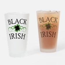 Black Irish with Fancy Shamrock Drinking Glass