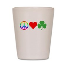 Peace Love Shamrock Irish Shot Glass