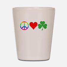 Peace Love Shamrock Irish Shot Glass