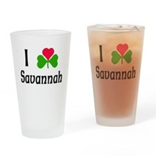 I Love Savannah Drinking Glass