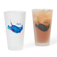 Stingray in Bold Colors Drinking Glass