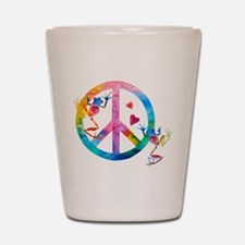 Tree Frogs 4 Peace Symbols Shot Glass