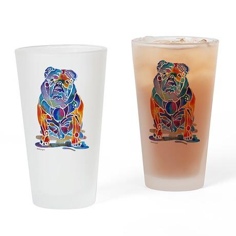 Whimsical English Bulldog Drinking Glass