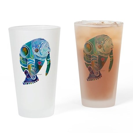 Manatees Endangered Species Drinking Glass